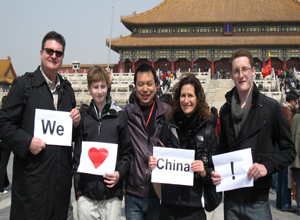Our tour guide and clients at Forbidden City