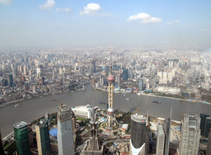 Have bird's view of whole Shanghai World Financial Center
